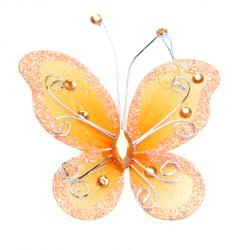Fluture 70x60 mm cu brocat  portocaliu