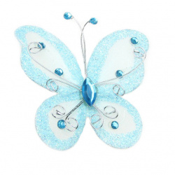 Organza Wire Butterfly with glitter For Home Decor, Party Accessories 70x60 mm   light blue