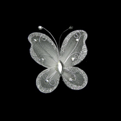 Organza Wire Butterfly with glitter For Home Decor, Party Accessories 70x60 mm white