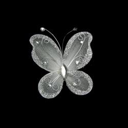 Пеперуда 70x60 мм с брокат бяла