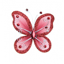Organza Wire Butterfly with glitter For Home Decor, Party Accessories 70x60 mm dark red