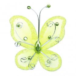 Пеперуда 70x60 мм с брокат жълта светло