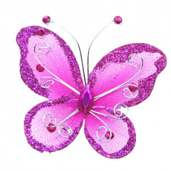 Organza Wire Butterfly with glitter For Home Decor, Party Accessories 70x60 mm deep pink