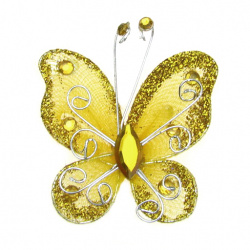 Organza Wire Butterfly, Yellow Glitter, 50mm