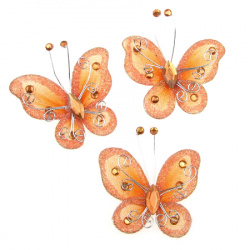 Пеперуда 50 мм оранжева светла с брокат