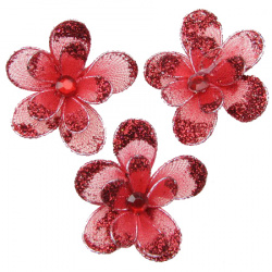 Double flower for decoration 35 mm with red glitter