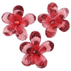 Floare dubla de 35 mm cu roșu brocat