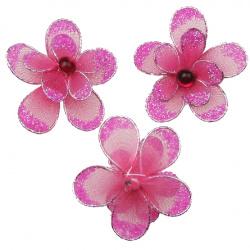 Цвете 35 мм двойно с брокат розово тъмно