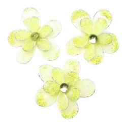 Organza and wire flower with glitter 35 mm light yellow