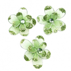 Green organza with wire flower, glitter 35 mm