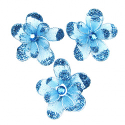 Organza wire flower with glitter 35mm blue