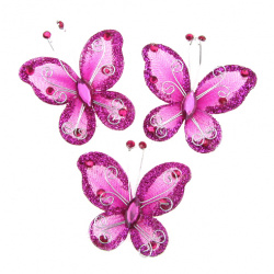 Organza and wire Butterfly with glitter for party accessories 50 mm deep pink