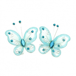 Organza and wire Butterfly with glitter for home decor, party accessories 50 mm light blue