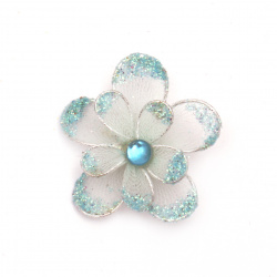 Organza Wire Flower Glitter 35mm Light Blue