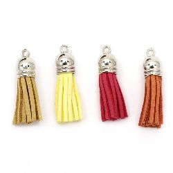 Pendant suede tassel 10x37 mm  hole 2 mm assorted colors - 4 pieces