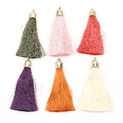 Pendant fabric tassel with cap 12x80 mm assorted colors
