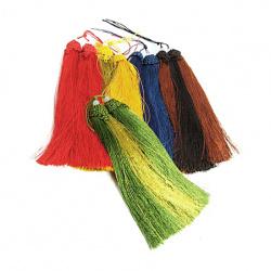 Fabric Tassel, Acrylic Bead, Mixed Colors 190mm