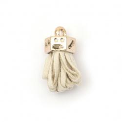 Φούντα σουέτ 25x11 mm με χρυσό καπέλο, τρύπα 3 mm μπεζ -2 τεμάχια
