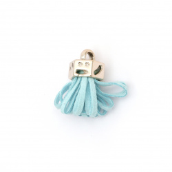 Pendant suede tassel with cap color gold 25x11 mm hole 3 mm color turquoise - 2 pieces