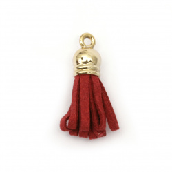 Pendant suede tassel with cap color gold 29x8 mm hole 2 mm color red - 2 pieces
