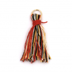 Fabric Tassel with metal ringl ring 25 mm colored with a ring -10 pieces