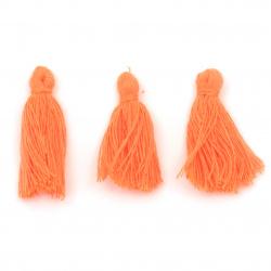 Пискюл памучен 30x15 мм цвят оранжев електрик -10 броя