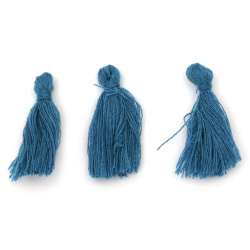 Tassel cotton 30x15 mm color blue - 10 pieces