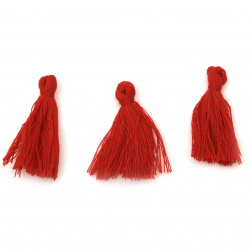 Tassel cotton 30x15 mm color red - 10 pieces