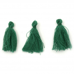 Tassel cotton 30x15 mm color green - 10 pieces