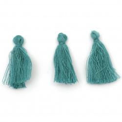 Tassel cotton 30x15 mm color turquoise -10 pieces