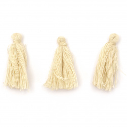 Tassel cotton 30x15 mm color ecru - 10 pieces