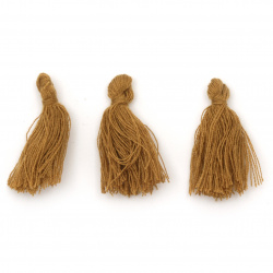 Tassel cotton 30x15 mm color ocher - 10 pieces