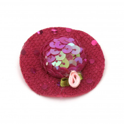 Шапка с роза 48x15 мм стиропор и пайети цвят циклама -2 броя