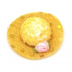 Шапка с роза 48x15 мм стиропор и пайети цвят жълт -2 броя