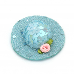 Шапка с роза 48x15 мм стиропор и пайети цвят син -2 броя