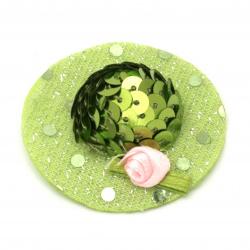 Шапка с роза 48x15 мм стиропор и пайети цвят зелен -2 броя