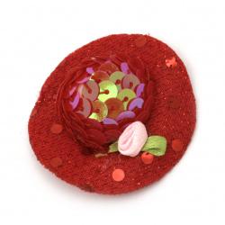 Шапка с роза 48x15 мм стиропор и пайети цвят червен -2 броя