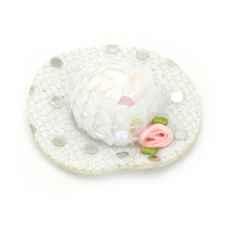 Шапка с роза 48x15 мм стиропор и пайети цвят бял -2 броя