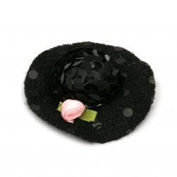 Шапка с роза 48x15 мм стиропор и пайети цвят черен -2 броя