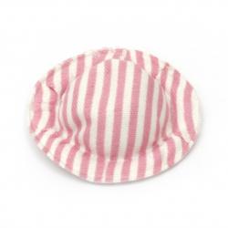 Pălărie  textil 49x10 mm dungi textile culoare alb și roz -4 bucăți