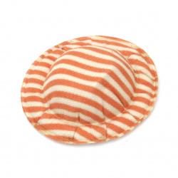 Шапка 49x10 мм текстил райе цвят бял и оранжев -4 броя