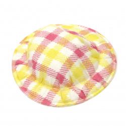 Шапка 49x10 мм текстил каре цвят бял жълт и розов -4 броя