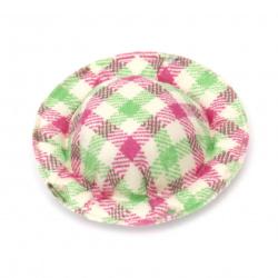 Шапка 49x10 мм текстил каре цвят бял зелен и розов -4 броя