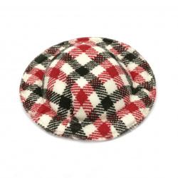 Καπέλο 49x10 mm υφασμάτινο καρό, λευκό κόκκινο και μαύρο -4 κομμάτια