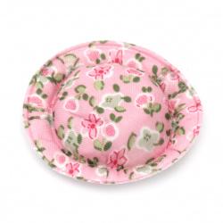 Шапка 49x10 мм текстил цветя цвят розов -4 броя