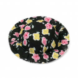 Шапка 49x10 мм текстил цветя цвят черен -4 броя
