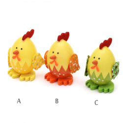 Chicken egg set 75x45 mm for decoration -3 pieces