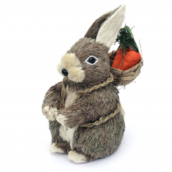 Straw rabbit figurine 230x110 mm for decoration
