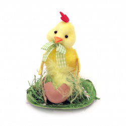 Rooster with egg cart 90x110 mm for decoration