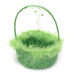 Кошница от кокосова трева с декорация 160x210 цвят зелен